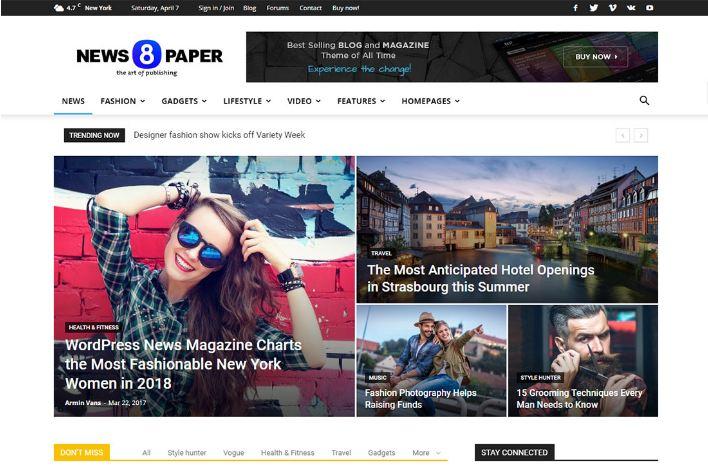 Newspaper - giao diện website tin tức lý tưởng