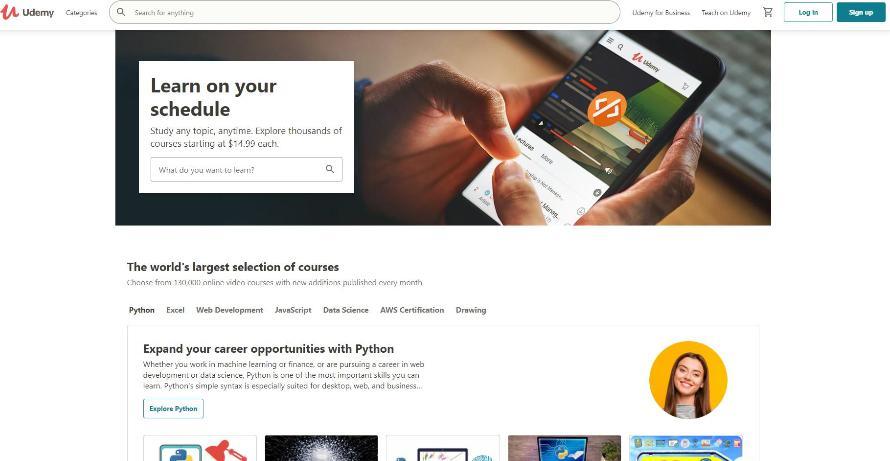 Trang web tự học thiết kế website miễn phí udemy